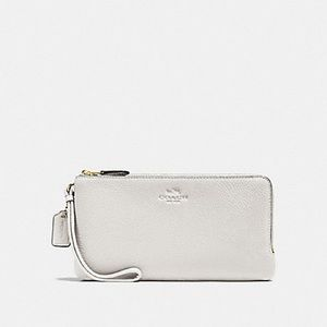 COACH DOUBLE ZIP WALLET IN PEBBLE LEATHER F54056